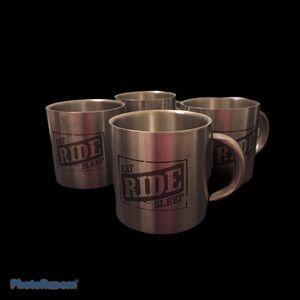 Set of 4 Stainless Steel Mugs | EAT RIDE SLEEP